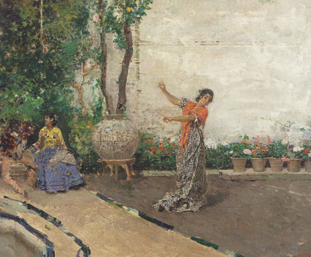 Gitana bailando en un jardín,Granada 1871.Óleo sobre lienzo. Colección Arango. En su búsqueda de trabajar al aire libre y captar la luminosidad representó a todo tipo de gitanos,mujer con castañuelas..