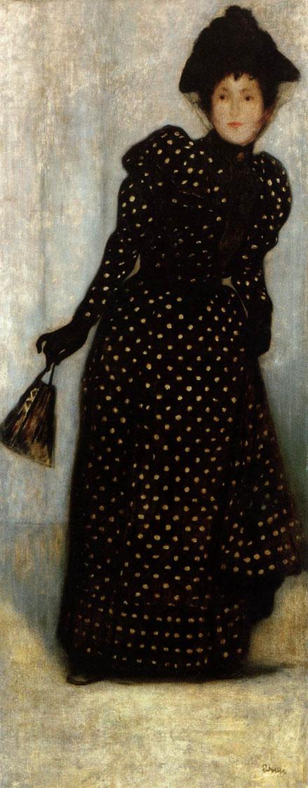 """Rippl-Rónai.Mujer vestida con lunares blancos.1889.Nuevo lenguaje formal relacionado con tendencias francesas.Colores apagados y lúgubres.Él mismo calificó de """"epoca negra"""".Sencilla expresividad que se centra en la elegante figura femenina"""