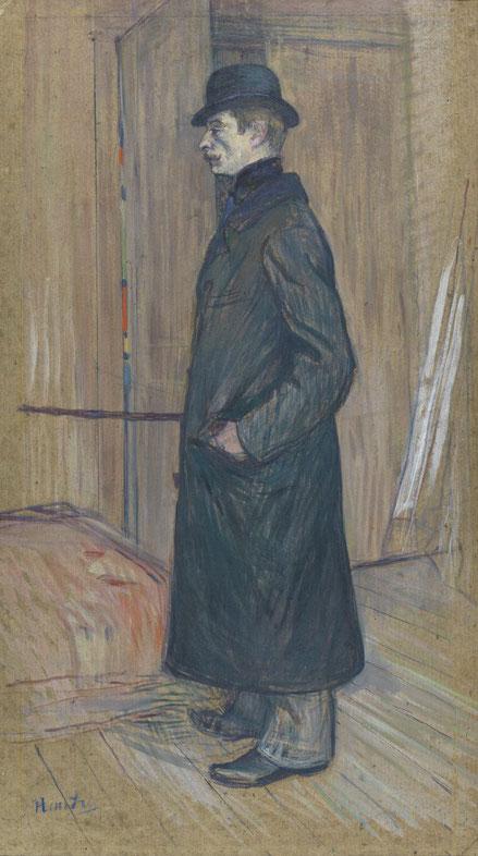 Toulouse Lautrec.Gaston Bonnefoy 1891. Óleo sobre cartón 71x37cm.Museo Thyssen. Suelen tener puntos de vista bajos para aumentar la monumentalidad de los personajes.Retrato caricaturesco de su gran amigo.
