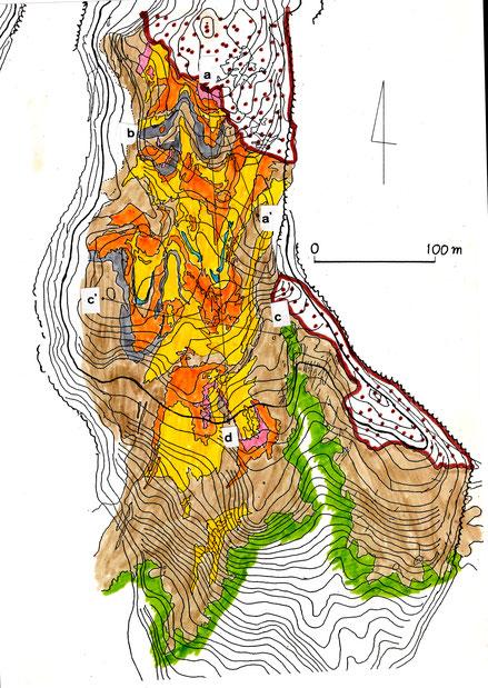 図2 中央台地に残された第1波のシマシマ模様―現地調査と空中写真判読から作成した町田光雄の原図に基づく  緑は植生が残っていた範囲,茶色の打点部は第2波