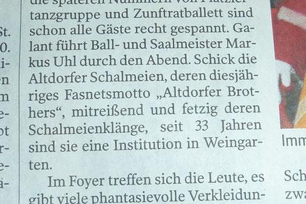 Schwäbische Zeitung vom 09.02.2015