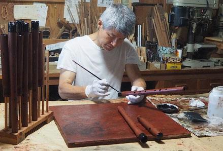 オリジナル横笛木製継管LowD管製作中 ~漆塗り~