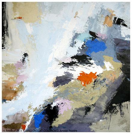 Abstraction, Artiste Peintre Abstrait Crozat Coulmont, Tableau Peinture Abstraite