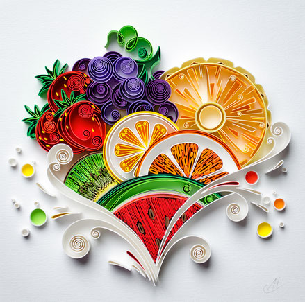 quilled, quilling, art, paper art, pineapple, strawberry, kiwi, quilling paper art, heart quilling art, quilling paper heart, quilling fruits, quilling wall art, paper, quilling wall art, artwork, квиллинг, Larissa Zasadna, Лариса Засадная, Квиллинг бумаг