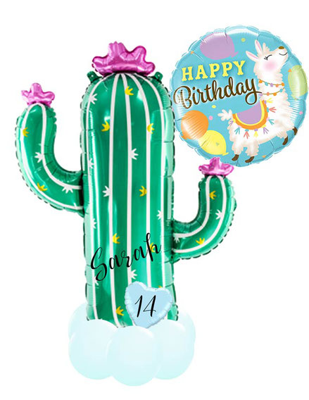 Ballon Luftballon Heliumballon Happy Birthday Geburtstag Kaktus Lama Alpaka Blumentopf Blume Versand Ballongruß Ballonbox Box Versand Mitbringsel Überraschung Geburtstagsgeschenk Deko Dekoration Freundin Schwester Mutter