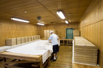 麹造りのためにベストな環境となるよう、温度・湿度等を調整できる設備が整えられている。