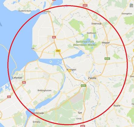 Mijn werkgebied is Kampen, Ijsselmuiden, Genemuiden, Zwolle, Elburg, Dronten, Zwartsluis, Hasselt, Wezep, oldebroek, Hattem, Lelystad, Emmeloord, Ens
