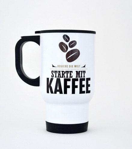 """Thermobecher aus Edelstahl """"Regiere die Welt, starte mit Kaffee"""""""