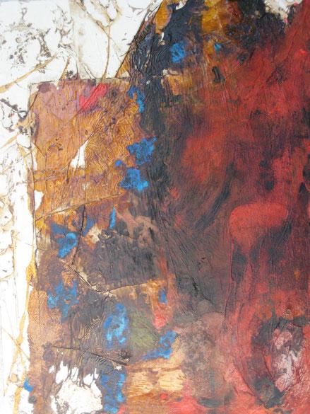 ohne Titel, 60 x 80 cm, Spachtelmasse, Seidenpapier, Acrylfarbe, Pigmente, Schellack, Ölfarbe, Acryllack