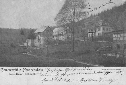 Bild: Wünschendorf Hammermühle Neunzehnhain Postkarte 1905