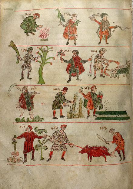 Darstellung von bäuerlichen Arbeiten in zwölf Monatsbildern, Handschrift um 818