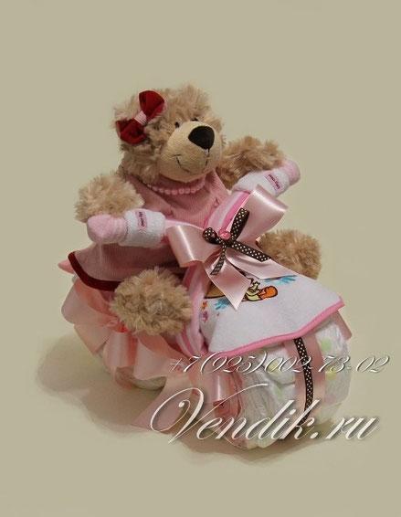 """Мотоцикл из памперсов для девочки """"Мишутка""""©"""