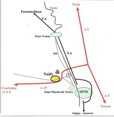 Plan d'accès à Nailly