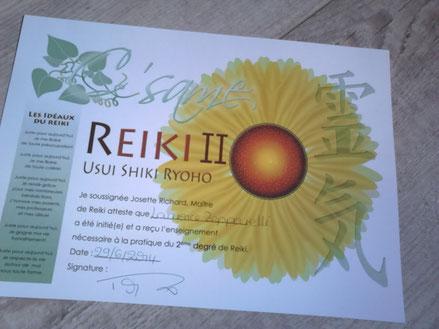 diplôme de REIKI 2eme degrés