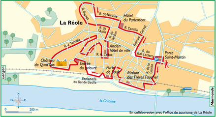 plan du circuit pédestre à La Réole
