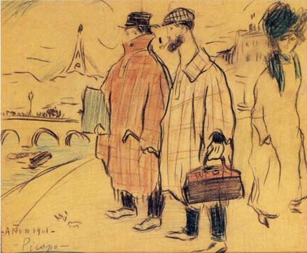 Picasso llegando a París con Jaume Andreu Bonsons, París. Mayo 1901.Lápiz de color y guache sobre papel. Berlin. Para la exposición en Vollard Picasso utiliza un estilo mas sombrío,introspectivo y melancólico..