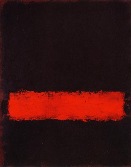 Mark Rothko(1903-1970).Sin título,negro,rojo,negro,1968.Óleo sobre papel encolado sobre lienzo.83x65cm. Fondo monocromo de color negro y forma rectangular de color rojo,reivindica la libertad absoluta de creación,dramático anticipo de su muerte.