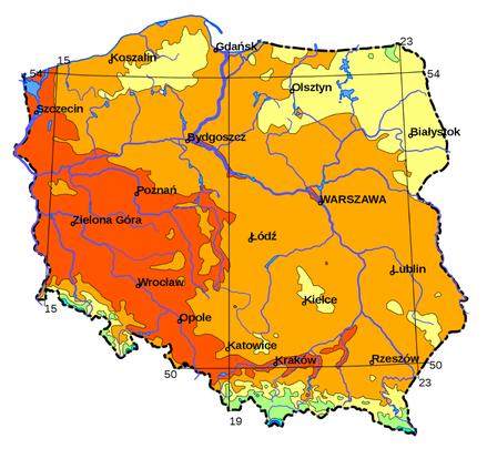 Polska - średnie roczne temperatury
