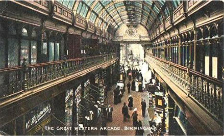 The Great Western Arcade c1900 built over the Snow Hill tunnel. Thanks for the use of this postcard to Dave Gregory,  Postcards of the Past website.