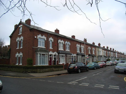 Milcote Road, one of the streets built on the parkland of Lightwoods House.