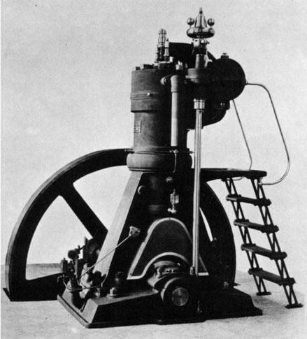 Vermutlich nicht der 1. Grazer-Dieselmotor aus dem Jahr 1900, sondern ein späterer Motor mit höherer Leistung.