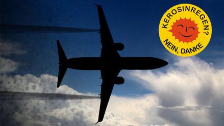 Keine Kondensstreifen: So sieht es aus, wenn ein Flugzeug Kerosin ausbläst. Fotomontage: Inititive Pro Pfälzerwald