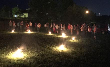 Barbados in Nünchritz - Versammlung zur Dhyama Feuershow