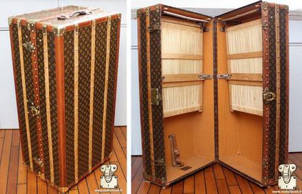 Louis Vuitton wardrobe trunk - Monogram Exterior: Mark 4 stencil LV monogram canvas Border: lozine Corners: Brass Interior: Double wardrobe  115cm x 46cm x 56cm