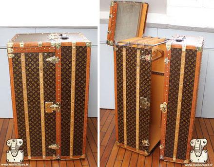 Louis Vuitton wardrobe trunk - Monogram Year: 1934 Exterior: Mark 4 stencil LV monogram canvas Border: lozine Corners: Brass Interior: Wardrobe + Shoe box x6 Drawers  115cm x 66cm x 56cm It is a very large size.