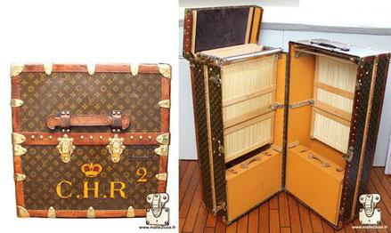 Louis Vuitton wardrobe trunk - Monogram Exterior: LV stencil Mark 5 monogram canvas Border: lozine Corners: Brass Interior: Double wardrobe, one side has a cover + shoebox