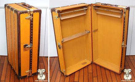 Louis Vuitton wardrobe trunk - Vuittonite Exterior: Yellow vuittonite canvas Trim: leather Corners: leather Interior: Double wardrobe 91cm x 56cm x 35cm