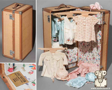 Louis Vuitton doll trunk. Child trunk.  rustic canvas  Another model of doll trunk on a reduced scale like a wardrobe to store a doll and its clothes. The dream for every child. Sold in Louis Vuitton stores but not produced in Asniéres.