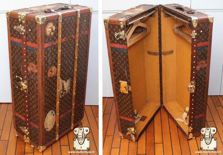 Malle wardrobe Louis Vuitton - Monogram Extérieur : Toile monogramme LV pochoir Mark 4 Bordure : lozine Coins : Laiton Intérieur : Doubles Penderies 91 cm x 56 cm x 35 cm