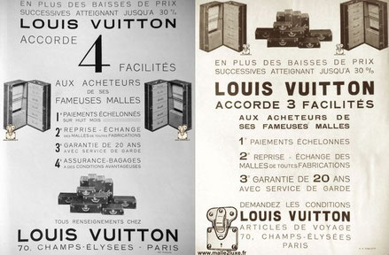 LOUIS VUITTON  GRANTS  4  FACILITIES  TO THE BUYERS OF ITS FAMOUS MALLS    EIGHT MONTHS PAYMENTS               RETURN - EXCHANGE                      OF TRUNKS of all MANUFACTURING 20  YEAR                   GUARANTEE  WITH CHILD SERVICE INSURANCE - LUGGA