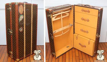 Malle wardrobe Louis Vuitton - Monogramme  Année : 1928 Extérieur : Toile monogramme LV pochoir Mark 4 Bordure : lozine Coins : Laiton Intérieur : Penderie x3 Tiroirs + Boite a chaussures 91 cm x 56 cm x 35 cm