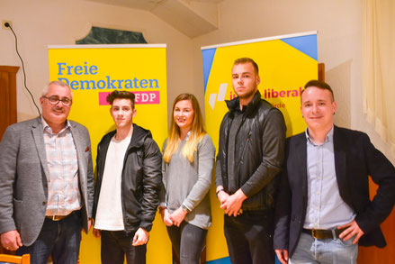 v.l.n.r. René Gehre (Kreisvorsitzender FDP Börde) die Neumitglieder Sean Winkler, Amy Schneider, Adrian Waßmus und Martin Wischeropp (Kreisvorsitzender JuLis Magdeburg-Börde)