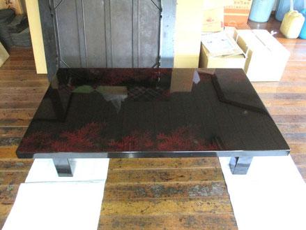 座卓の漆器修理前
