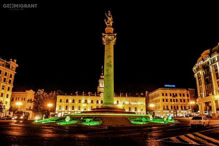 Ночной Тбилиси заиграл Олимпийскими цветами