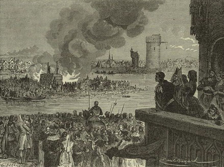Bûcher sur l'île aux Juifs