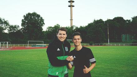 Teammanager Florian Leibold mit Rückkehrer Maxi Hanich