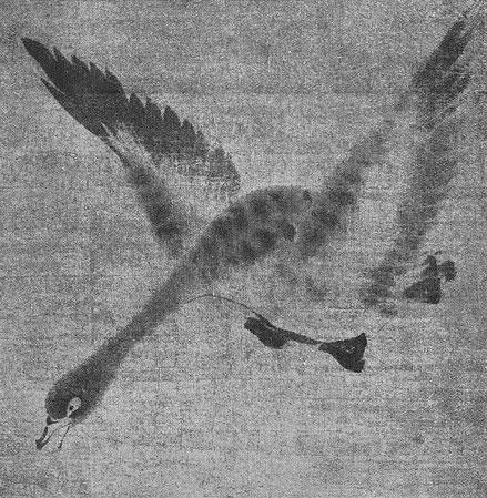 Mou hsi. Oies sauvages, détail. Ernst Grosse (1862-1927) : Le lavis en Extrême-Orient