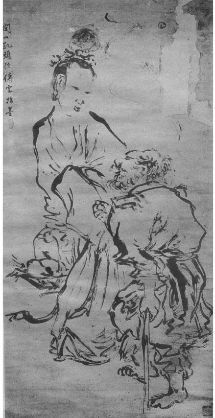 Li T'ie-kouai et Lan Ts'ai-ho par Fou Wen (XVIIIe siècle). Édouard Chavannes et Raphaël Petrucci : La peinture chinoise au musée Cernuschi en 1912. Ars Asiatica I, Van Oest, Bruxelles et Paris.