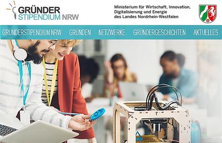 Screenshot Webseite des Gründerstipendiums NRW