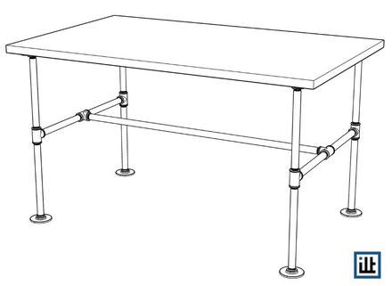 Bauplan Esstisch aus Wasserrohr Tischgestell No.3 mit Stückliste