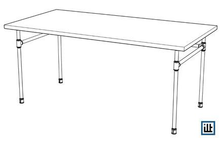 Bauplan für Schreibtisch aus Rohren / Tischgestell Temperguss