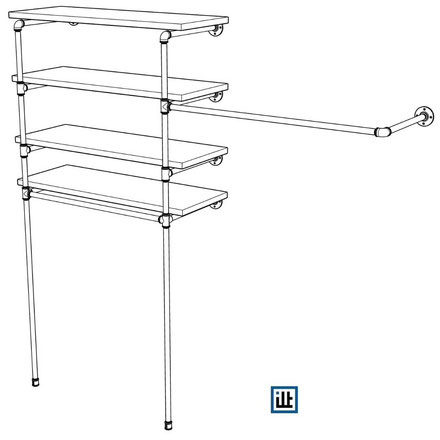 Bauplan für einen offenen Kleiderschrank aus Rohren