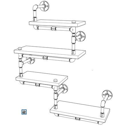DIY Bauplan Wandregal aus Temperguss Rohren und Fittings