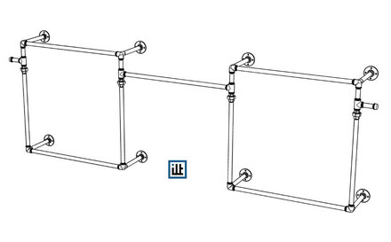 Bauplan für wandmontierten offenen Kleiderschrank aus Rohren und Temperguss