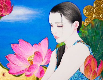 「想ひ花・望」日本画 F6号(税込)198,000円