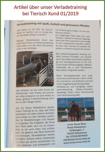Bewertung Lucky Horse Shop, Verladetraining, Pferdezeitschrift